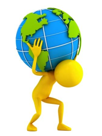 3d person and globe